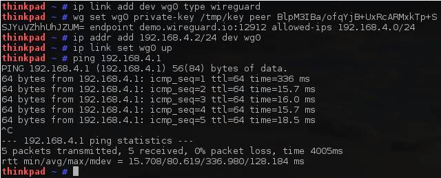 WireGuard demo (from the WireGuard site)