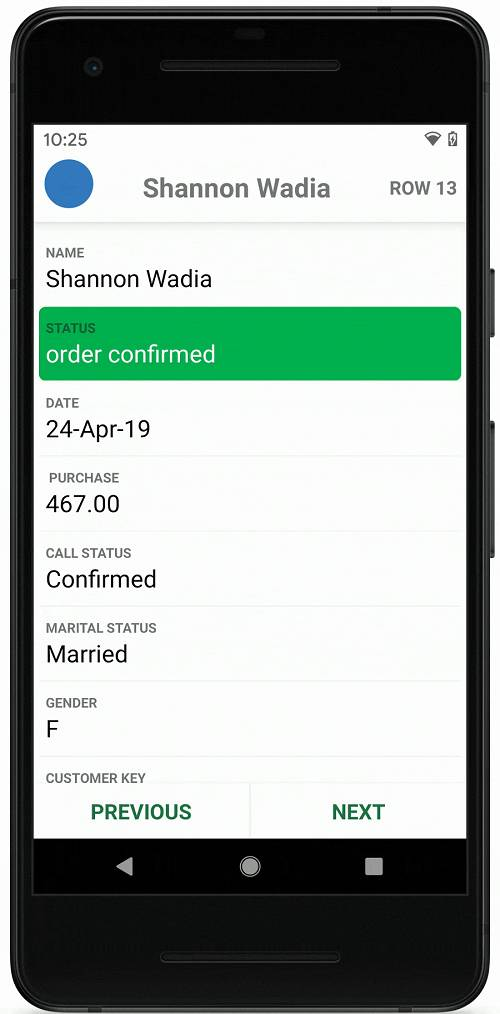 The forthcoming Card View in Excel Mobile