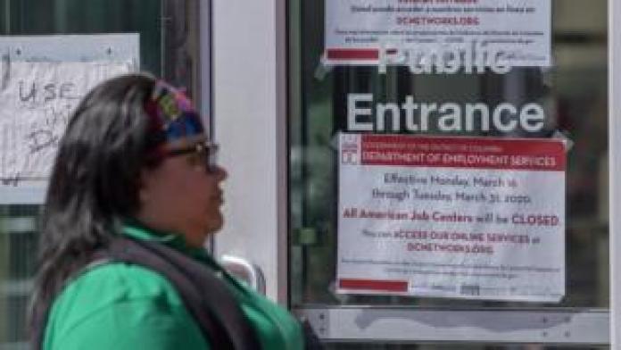 Woman outside US job centre