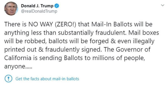 Earlier in the week Donald Trump was officially 'fact-checked' by Twitter over 'misleading' claiming mail-in ballots will lead to fraud
