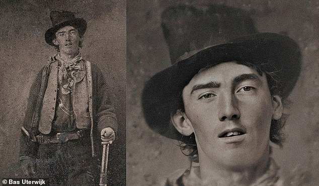 He started working on this original picture of American outlaw Billy the Kid, left, to eventually obtain the portrait on the right
