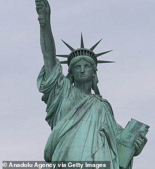The Statue of Liberty on Liberty Island, in New York City, which was built by Frederic Auguste Bartholdi