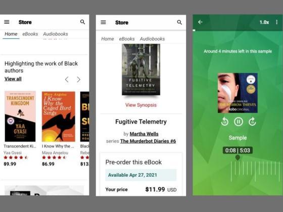 screenshots of the kobo application