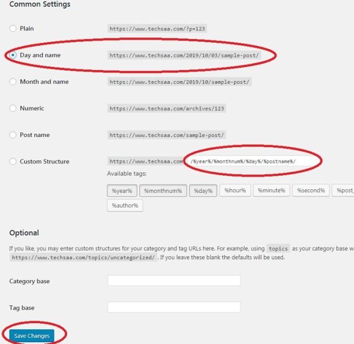 Wordpress site Permalinks