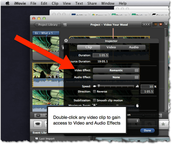 video audio effects imovie