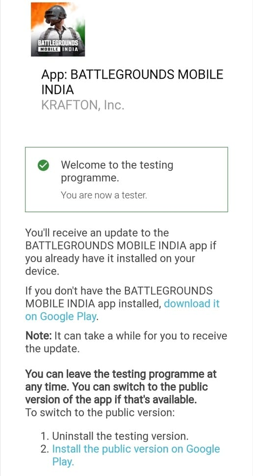Steps To Get Battleground Mobile India Early Access Link