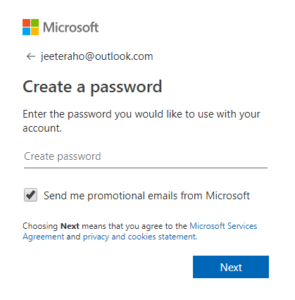 create password of account on microsoft outlook step 2