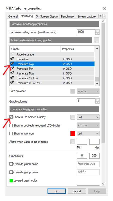 MSI Afterburner Software Average FPS Step 2
