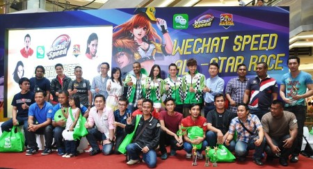 WeChat VIPs with WeChat Speed All-Star Race celebrities. (From left to right) Vincent Fang, Assistant General Manager of International Business Group, Tencent Holdings, Leong YE, Business Development Director of WeChat Malaysia, JJ, Yumi Wong, Adam C, Adrian Tan and Louis Song, Country Manager of WeChat Malaysia and Singapore.