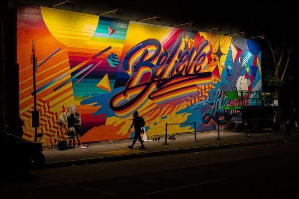 Colourful graffiti saying 'Believe'