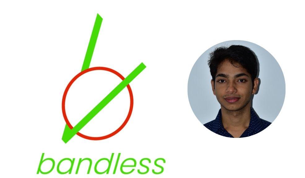 BandLess logo and photo of Brenton
