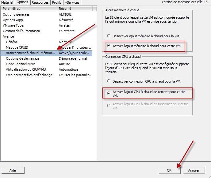 Activer l'ajout de mémoire et de cpu à chaud via le vSphere Client