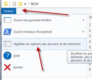 Modifier les options de l'accès rapide de l'explorer Windows