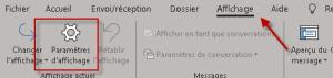 Changer les paramètres d'affichage de Outlook
