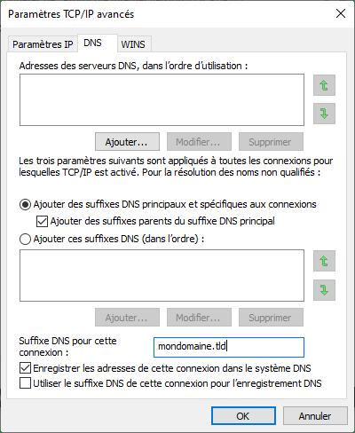 Ajout le suffixe DNS de votre domaine sur votre carte réseau