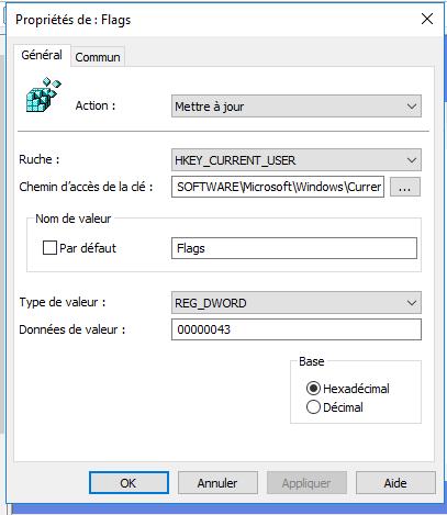 Pousser la clé de registre pour internet explorer