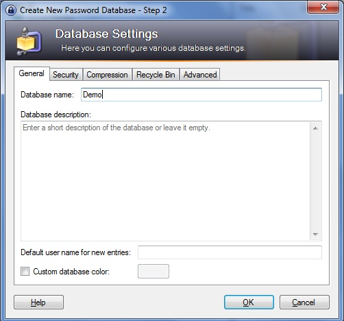 Setting up KeePass Screenshot 2