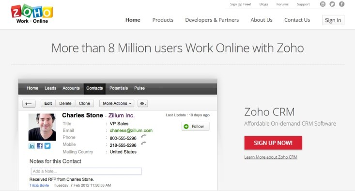Zoho Office suite screenshot