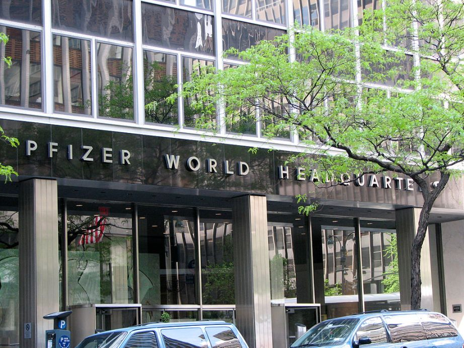 A photograph of Pfizer's headquarters