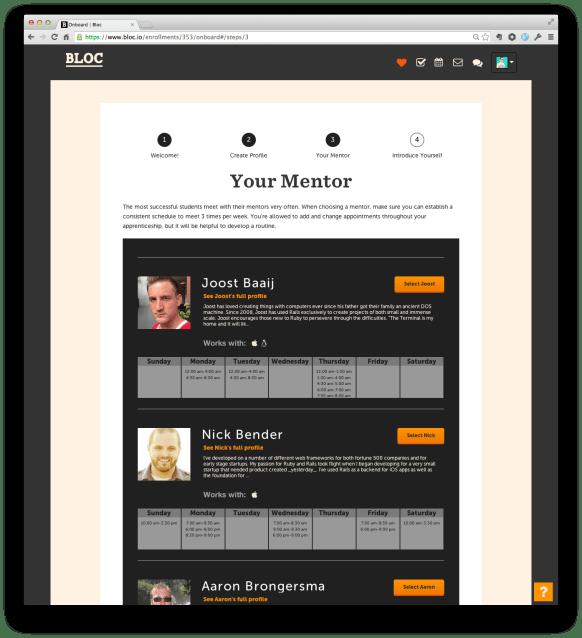 A screenshot of bloc's mentor's webpage