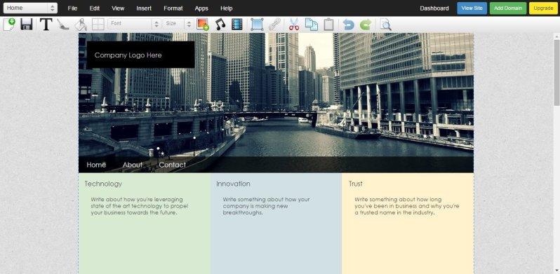 Webstarts website builder editing page