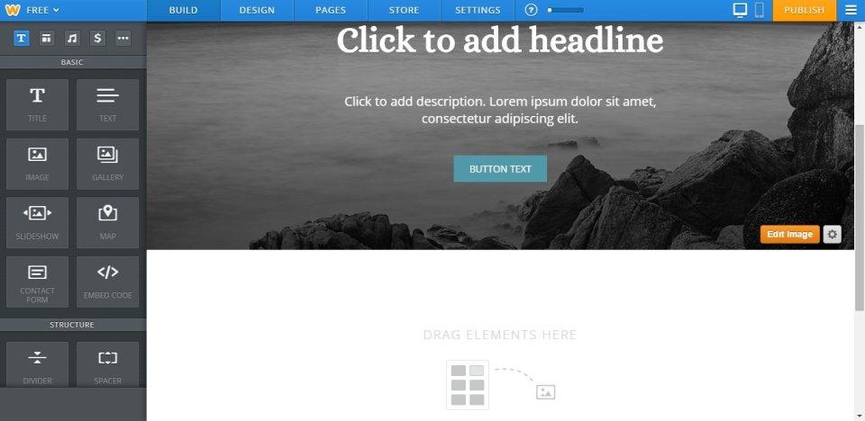 Weebly website builder page