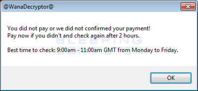 wanacrypt0r check for payment
