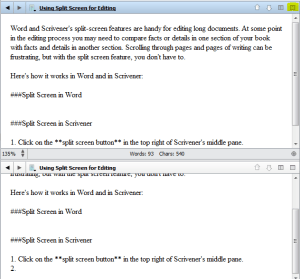 Scrivener's split-screen view