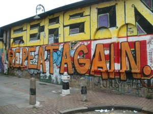 Graffiti of words repeat again