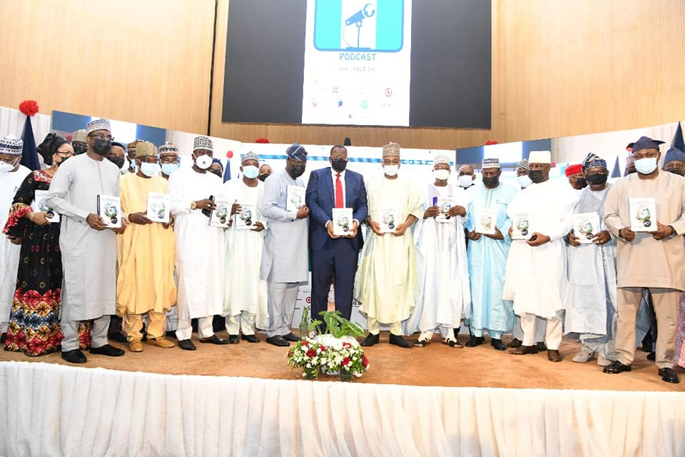 Dignitaries at the book launch on broadband infrastructure