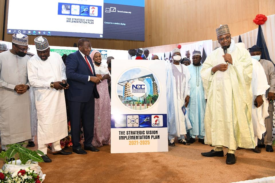 EVC of NCC, Prof Danbatta flanked by other dignitaries at the unveiling of the SVP in Abuja