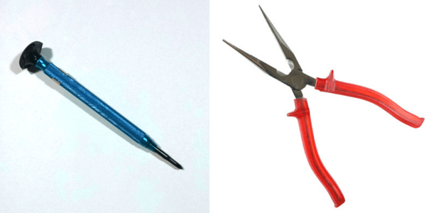 screw extractor and needle nose pliers