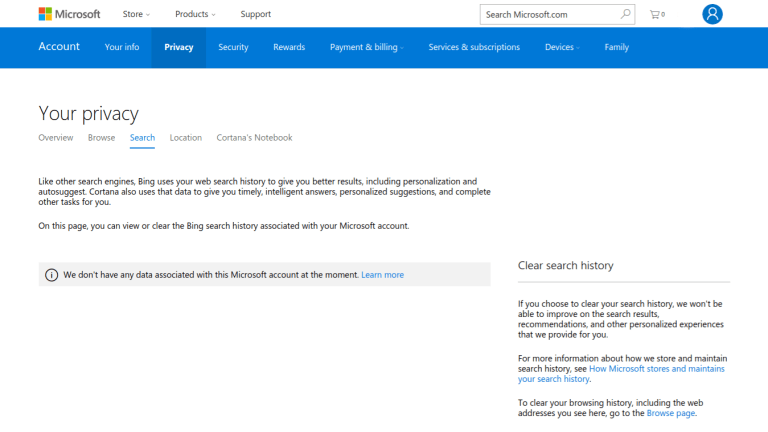 screenshot of the Privacy section of a Microsoft account