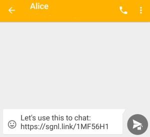 screenshot of Signal invitation