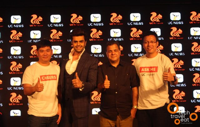 From Left – Right Jack Huang, President, Overseas Business, Alibaba Mobile Business Group ; Manish Paul Tv Personality , Raj Nayak CEO Colors Tv ; Robert Bu, General Manager, UCWeb India