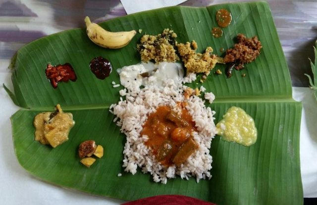 Kerala Style Vegetarian Sadya on Banana Leaf