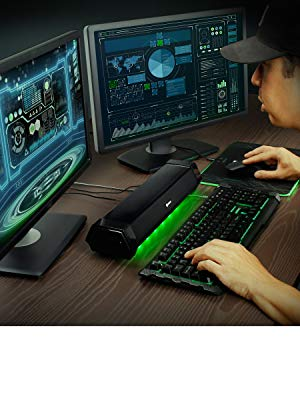 ENHANCE Attack Gaming Speaker Soundbar Under Monitor PC Sound Bar LED Speaker with 40W Peak Power
