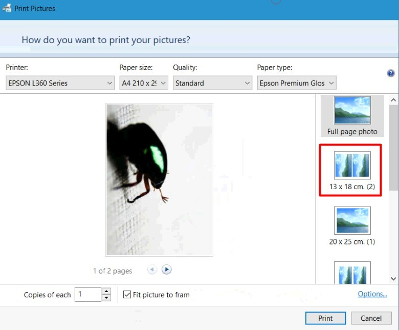 change print size units from cm to inch in Windows Print Picture