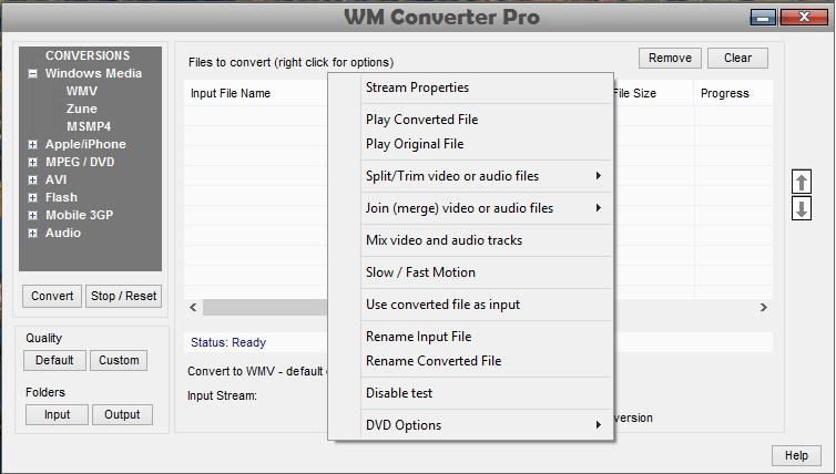 Featutures Botão direito do mouse em conversor de WM