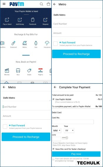 Recharge metro card online via Paytm