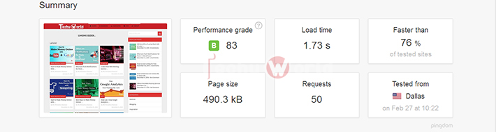 pingdom report for cache enabler best wordPress cache plugin
