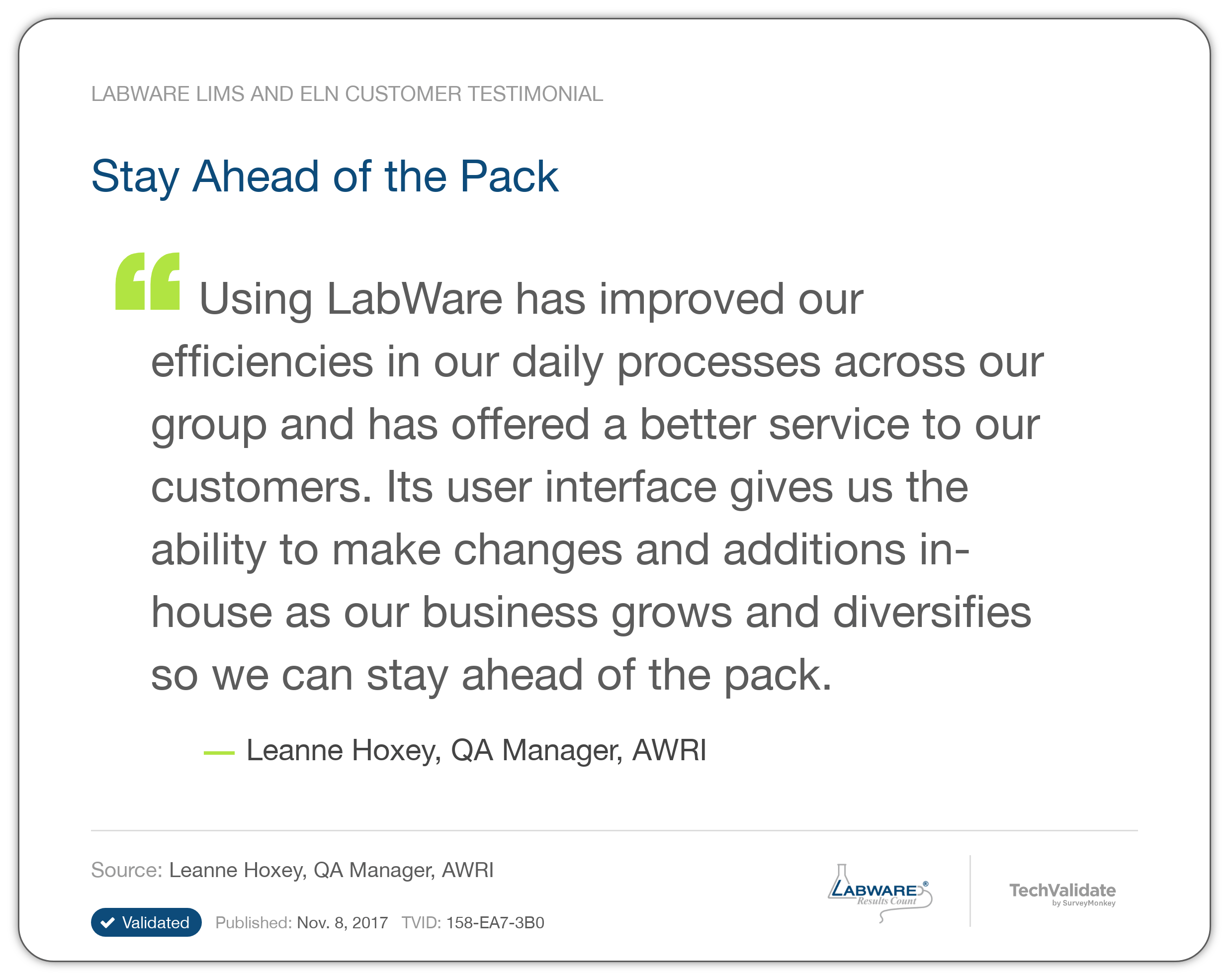 Labware Lims And Eln Techfact Stay Ahead Of The Pack