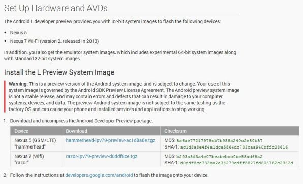 how to install android l developer preview