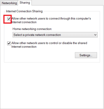 allow other networks to connect throguh this computer's internet connection