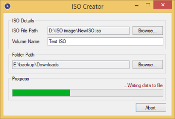 create iso image from file folder and drives on windows