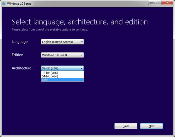 select language architecture and edition of windows 10 iso file
