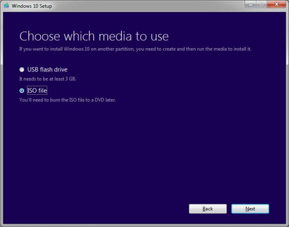 select windows 10 iso file