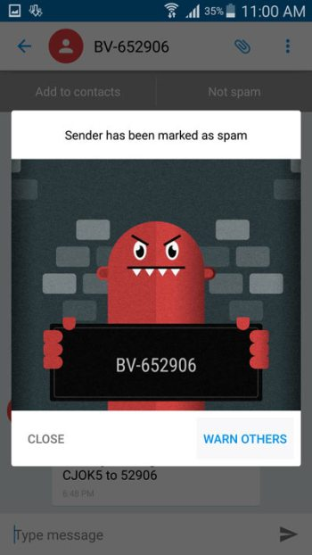 warn-other-about-spam-text-message-sender-truemessenger