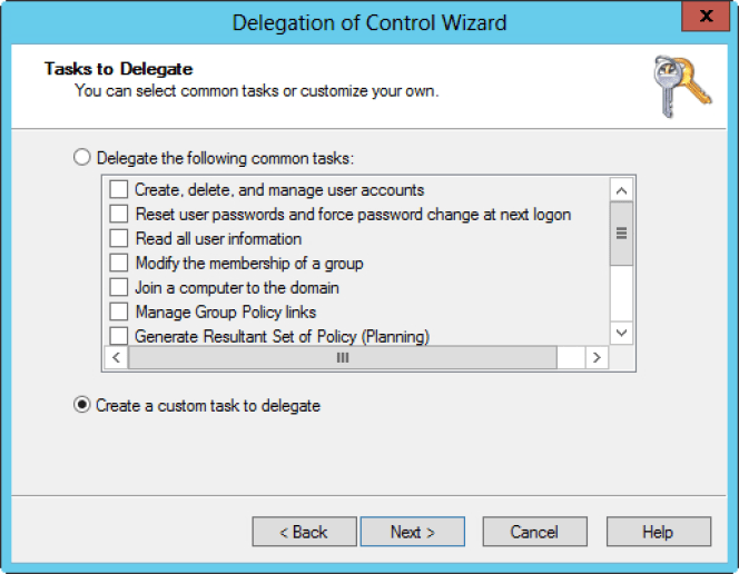 Delegation of Control Wizard 1