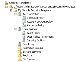 Managing security configuration with security templates figure 7 8 security settings in a security template maxwellsz